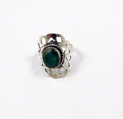Dyed Emerald .925 Silver Plated Handmade Ring Size-8.50 Jewelry JC7854