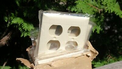 Lot Of 19 Vintage Almond Plastic Double Gang Wall Plate Outlet Switch Covers