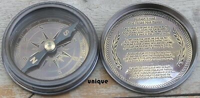 Antique Solid Brass Poem Compass ~Vintage (Pirate Robert Frost) Compass