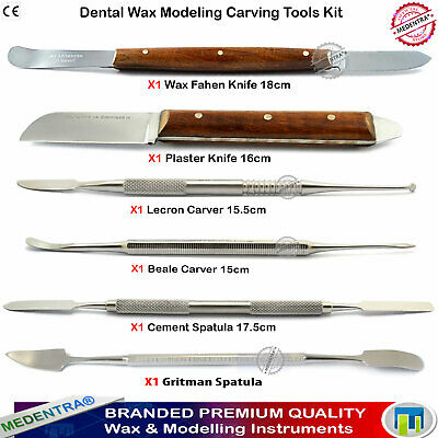 Dentist Wax Carving Kit Laboratory Carvers Cement Spatulas Waxing Knives 6 Piece