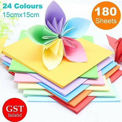 180 Sheets 24 Mixed Colours Japanes Origami Square Paper Craft Folding 15x15cm A