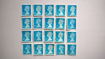 20 Unfranked Second Class Blue Security Stamps Off Paper With Slight Faults
