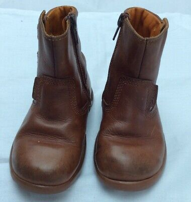 infant Girls Clarks Brown Leather zip up ankle Boots size 8 F