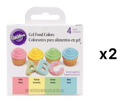 Wilton Primary Gel Food 4-Color Set - Yellow Pink Blue Green Icing (2-Pack)
