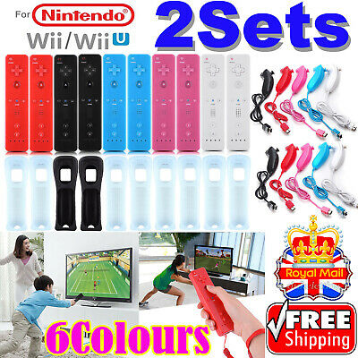 2Sets NUNCHUCK and REMOTE CONTROLLER FOR NINTENDO WII & WII U + SILICONE + STRAP