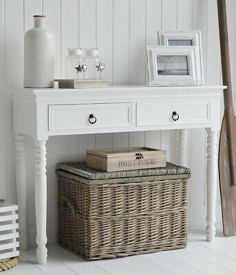 New England white console table drawers hall hallway brass handles