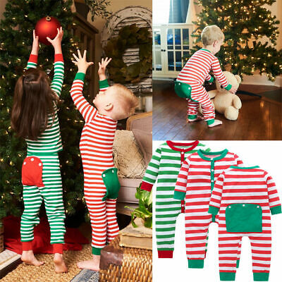 Christmas Newborn Baby Boy Girl Striped Romper Bodysuit Jumpsuit Outfits Clothes