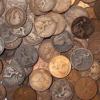 Old English One Penny Coins 1860 - 1967 Bulk Lots. Choose 50, 100 or 200 Coins