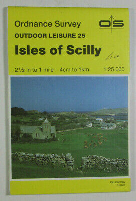 1988 Old OS Ordnance Survey Outdoor Leisure 1:25 000 Map 25 Isles of Scilly