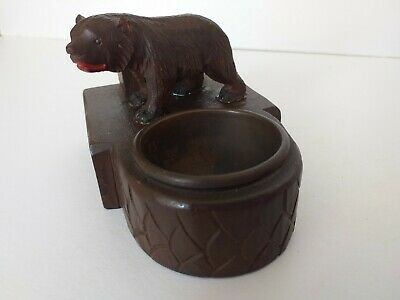 Black Forest Bear Carved Wooden Desk Top Ink Well Vintage Collectable Inkwell
