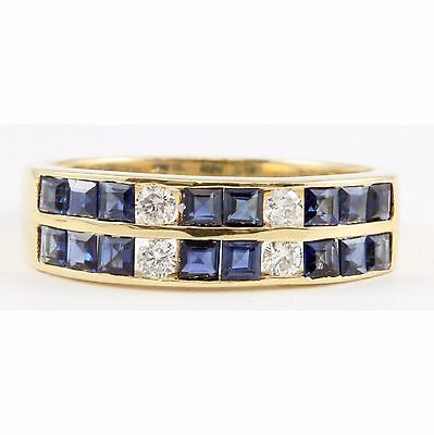 14k Yellow Gold Channel Set Square Sapphire Round Diamond Ring Band Jewelry