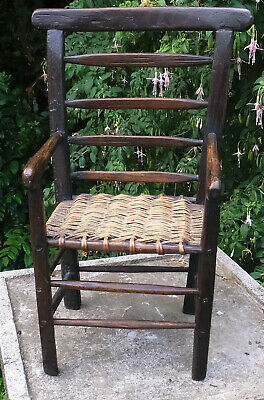 Rare Georgian Ash/Oak Apprentice Piece Country Elbow Chair - Welsh/West Country?
