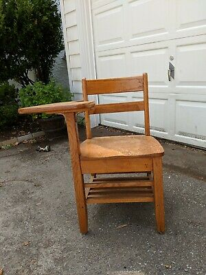 Antique Wood School Chair with Desk Attached Writing Table Oak Rare Solid HTF