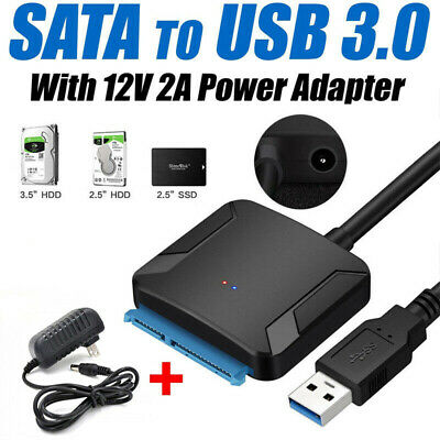UASP SATA TO USB 3.0 Converter Cable 2.5 3.5 inch HDD SSD Adapter 12V US Power