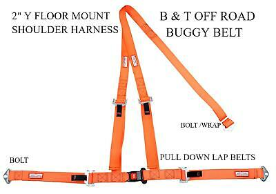 "Sandrail 2"" Seat Belt 3 Point B & T Y Harness All Bolt In Harness Orange"