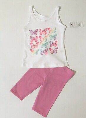 Matalan Young Dimension Girls White Vest Top Pink Leggings Outfit Age 2-3 Years
