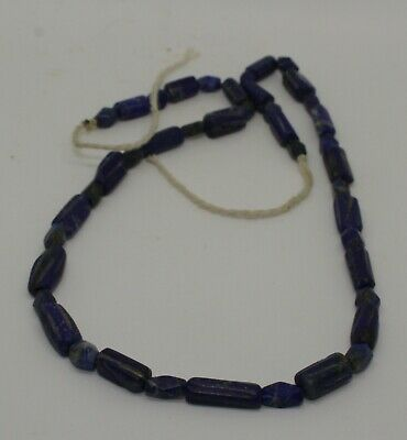 Ancient Carved Lapis  Bead Necklace - 022