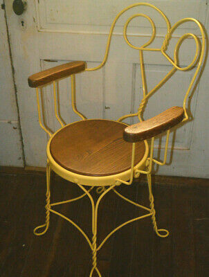 Vintage Wrought Metal Twisted Ice Cream Parlor Armed Chair Wood Seat & Arms