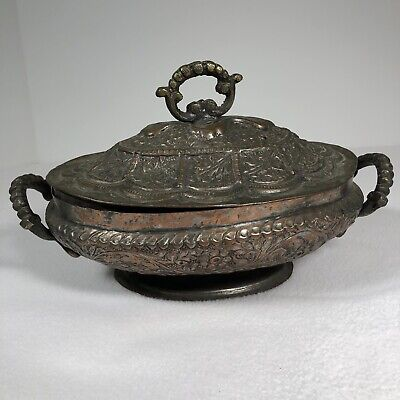 "Antique Hand Hammered Copper Dish With Lid Primitive Folk Art 10""x 6"""