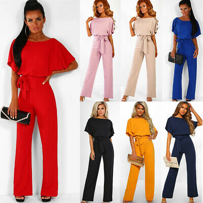 Womens Ladies Casual Lace Up Wide Leg Jumpsuit Party OL Long Playsuit Trousers