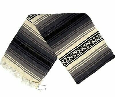 Mexican Blanket Vintage Style Stripes 100% WOOL Black Grey Thick Native Serape
