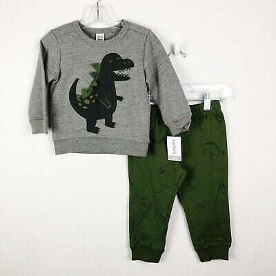 Carters Baby Boy 18 Months 2 Piece Sweatshirt Sweatpants Dino Outfit Set NEW NWT