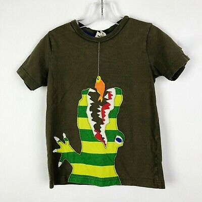 Mini Boden Boys Size 3 4 Years Brown Crocodile Applique T-Shirt Top Short Sleeve