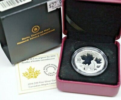 Royal Canadian Mint 2016 $10 Canadian Maple Leaves Silver Coin