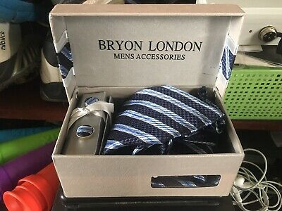 Bryon London Mens Accessories Tie & Cufflinks Gift Pack Set