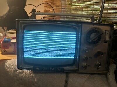 Vintage Gray Sony Micro TV5-303W Case with micro tv , power cord + Tokyo Japan