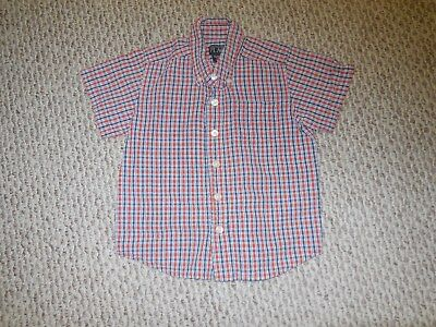 The Childrens Place Boys 36 months/3T Short-Sleeved Plaid Button-Down Shirt