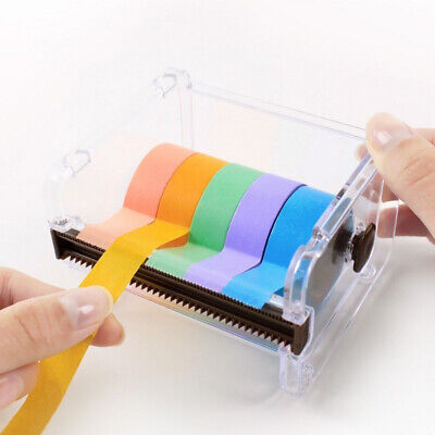 KF_ Office Stationery Masking Washi Tape Holder Cutter Storage Organizer Dispe