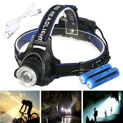 90000LM Zoomable LED Headlamp Rechargeable Headlight CREE XML T6 Head Torch Lamp