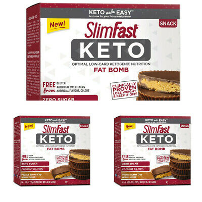 SlimFast KETO FAT BOMB Peanut Butter Cups 3 pack x 14 count (42) 008346874828