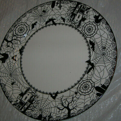 Ciroa Dinner Plate Wiccan Lace Black Cat Haunted House Spider Web Halloween