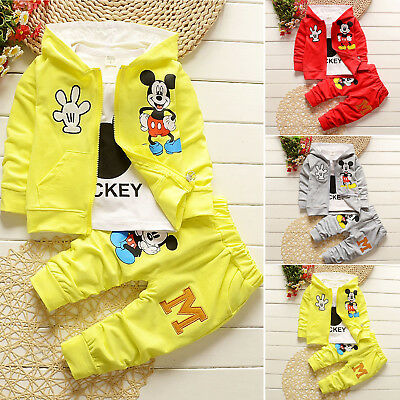 Kids Baby Boys Girls Mickey Mouse Hooded Coat + T-shirt + Pants 3pcs Outfits Set