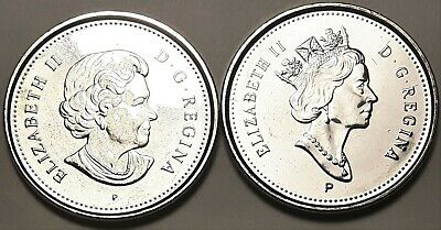 Both 2003 P New & Old Effigy CANADA 5 Cent Nickel UNC Coins BU From Mint Roll
