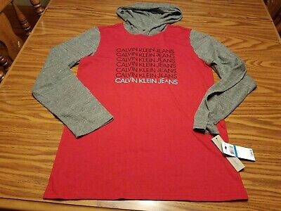 NWT Calvin Klein Jeans Boy's Long Sleeve Logo Hooded T-Shirt Red & Grey Size XL