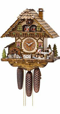 Cuckoo Clock Black Forest house with moving wood sawers and m.. KA 3752/8 EX NEW