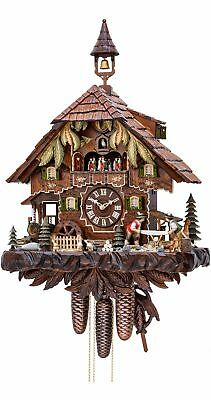 Cuckoo Clock Black Forest house with moving wood sawers and m.. KA 3751/8 EX NEW