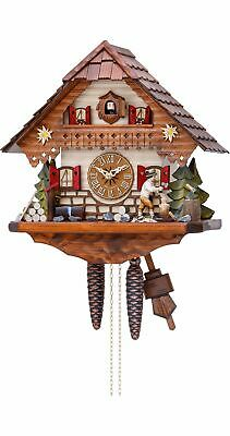 Cuckoo Clock Black Forest house with moving wood chopper KA 865 EX NEW