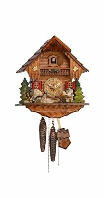 Cuckoo Clock Black Forest house with moving beer drinker and do.. KA 1636 EX NEW
