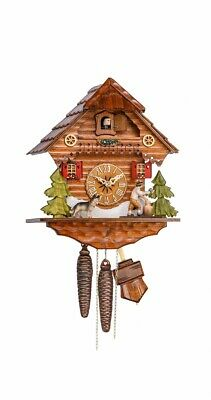 Cuckoo Clock Black Forest house with moving wood chopper KA 1634 EX NEW