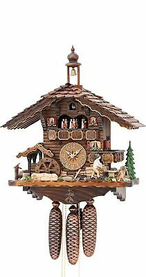 Cuckoo Clock Black Forest house with moving wood chopper and .. KA 3739/8 EX NEW