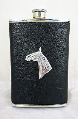 Antique 8-oz Stainless Steel Faux Leather Wrapped Hip Flask - England