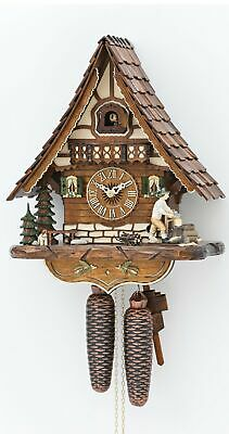 Cuckoo Clock Black Forest house with moving wood chopper KA 816 EX NEW