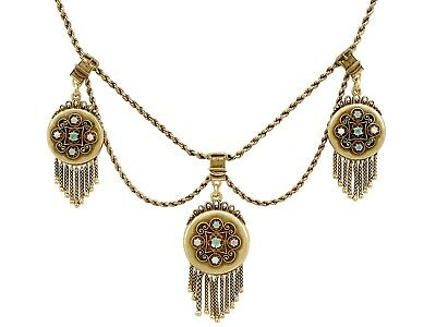 Emerald & Opal, 15ct Yellow Gold, 3 Locket Necklace - Antique Victorian