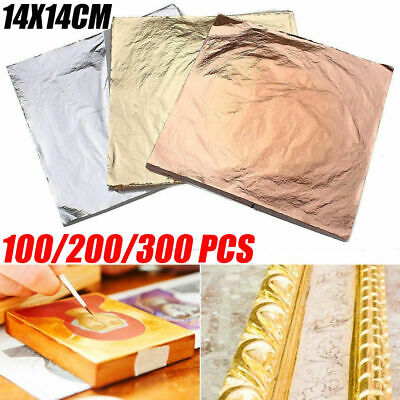 100 Sheets Gilding Art Craft Gold Silver Copper 14x14cm Leaf Leaves Foil Paper