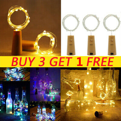 10/20 LED Fairy String Lights Bottle Battery Cork Shaped Christmas Wedding Party