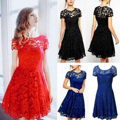 Womens Lace Mini Dress Ladies Evening Cocktail Bridesmaids Party Dresses Gift UK